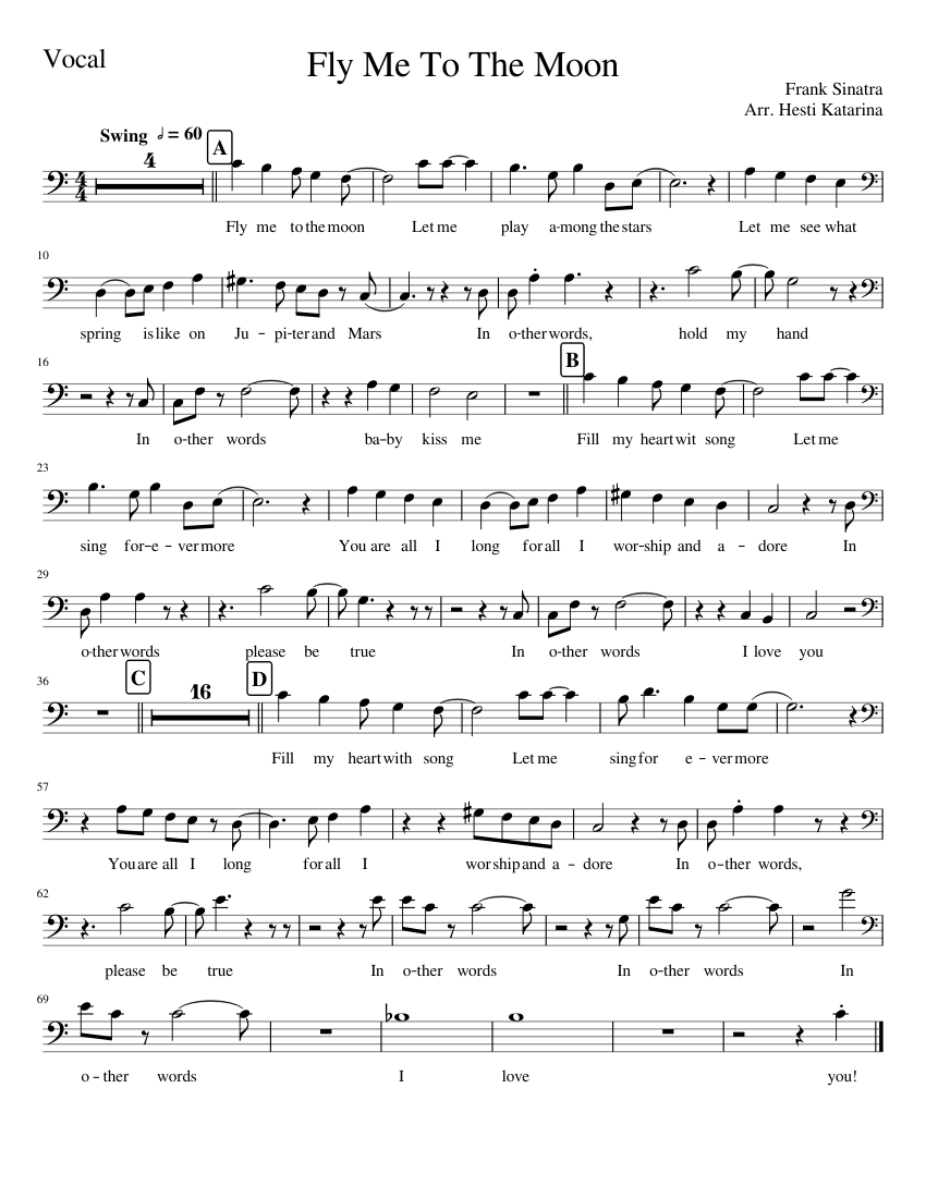 fly me to the moon chart pdf
