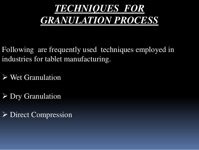 granulation process in pharmaceutical industry pdf