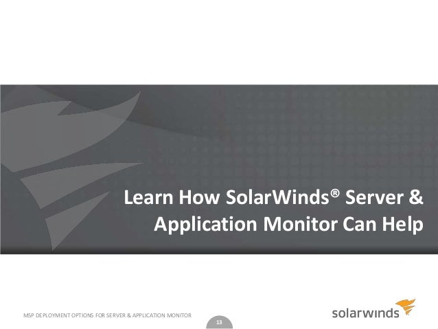 solarwinds server & application monitor deployment and administration pdf